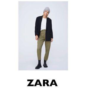 ZARA Corduroy Paperbag Baggy Jeans in Khaki US 4